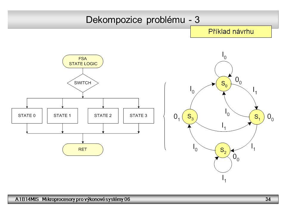 A1B14MIS Mikroprocesory pro výkonové systémy 0634 Dekompozice problému - 3 Příklad návrhu