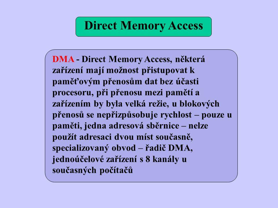 DMA - Direct Memory Access, některá zařízení mají možnost přistupovat k paměťovým přenosům dat bez účasti procesoru, při přenosu mezi pamětí a zařízením by byla velká režie, u blokových přenosů se nepřizpůsobuje rychlost – pouze u paměti, jedna adresová sběrnice – nelze použít adresaci dvou míst současně, specializovaný obvod – řadič DMA, jednoúčelové zařízení s 8 kanály u současných počítačů Direct Memory Access