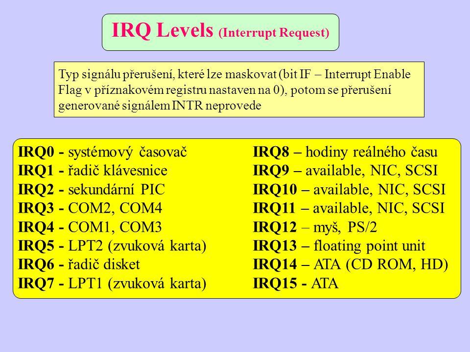 IRQ0 - systémový časovačIRQ8 – hodiny reálného času IRQ1 - řadič klávesniceIRQ9 – available, NIC, SCSI IRQ2 - sekundární PICIRQ10 – available, NIC, SCSI IRQ3 - COM2, COM4IRQ11 – available, NIC, SCSI IRQ4 - COM1, COM3IRQ12 – myš, PS/2 IRQ5 - LPT2 (zvuková karta)IRQ13 – floating point unit IRQ6 - řadič disketIRQ14 – ATA (CD ROM, HD) IRQ7 - LPT1 (zvuková karta)IRQ15 - ATA IRQ Levels (Interrupt Request) Typ signálu přerušení, které lze maskovat (bit IF – Interrupt Enable Flag v příznakovém registru nastaven na 0), potom se přerušení generované signálem INTR neprovede