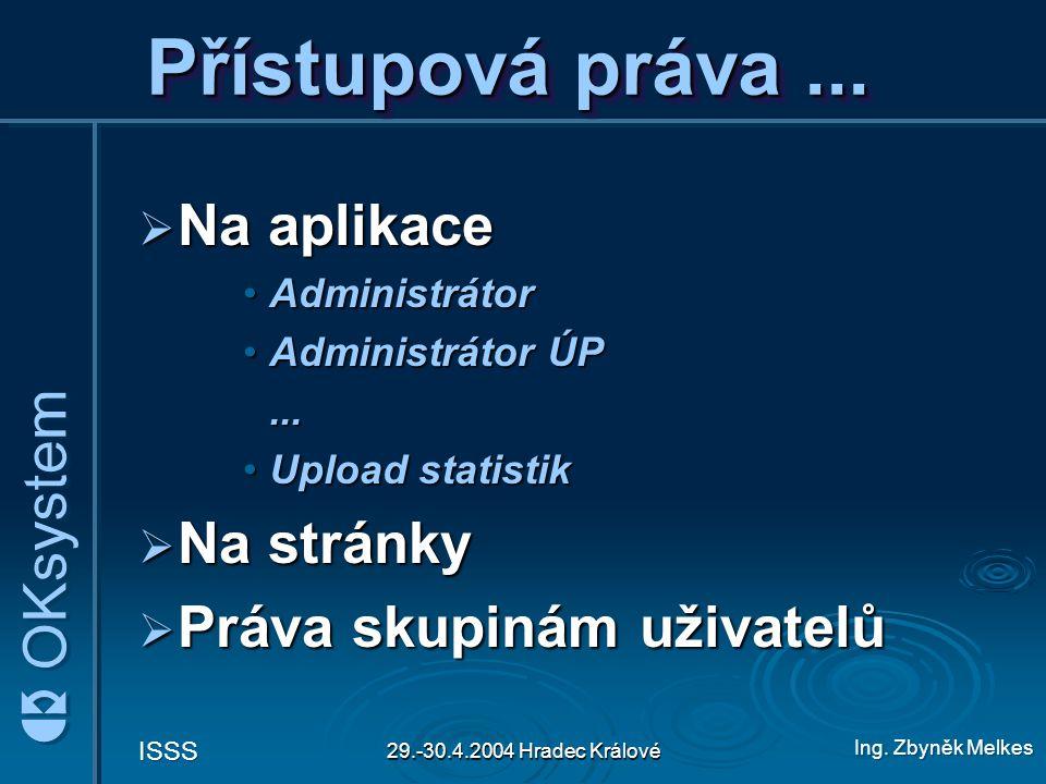 Ing. Zbyněk Melkes ISSS 29.-30.4.2004 Hradec Králové Přístupová práva...  Na aplikace AdministrátorAdministrátor Administrátor ÚPAdministrátor ÚP...