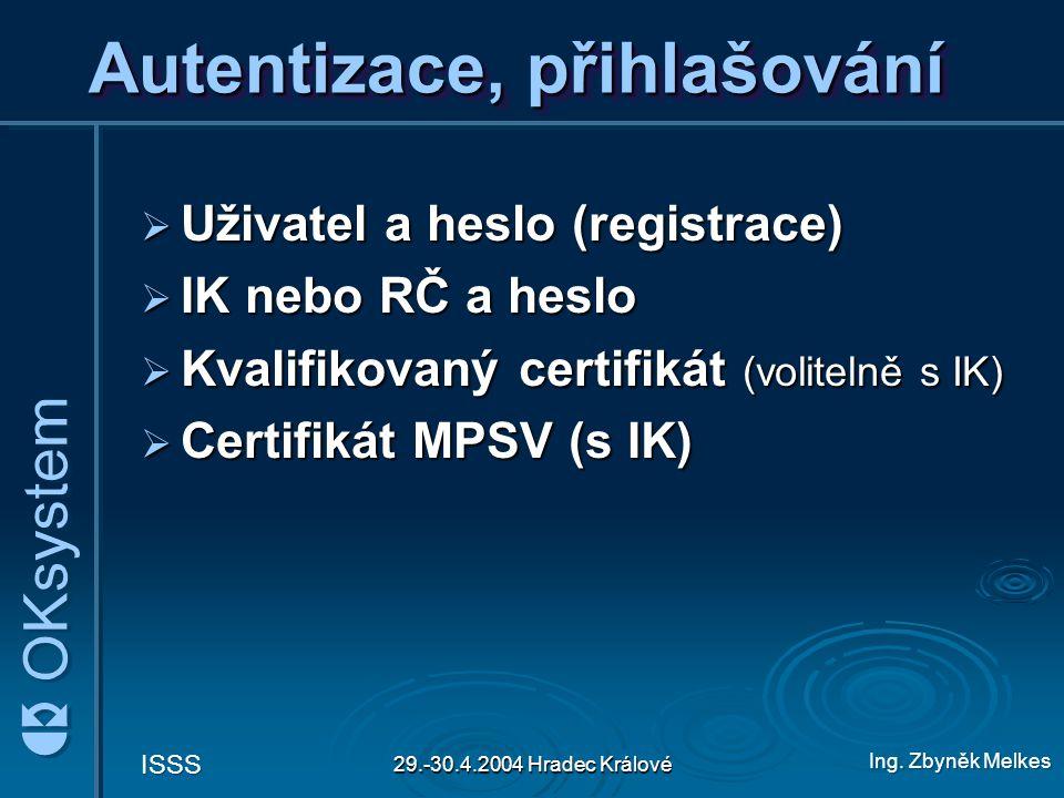 Ing. Zbyněk Melkes ISSS 29.-30.4.2004 Hradec Králové Autentizace, přihlašování  Uživatel a heslo (registrace)  IK nebo RČ a heslo  Kvalifikovaný ce