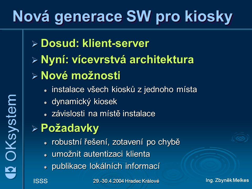 Ing. Zbyněk Melkes ISSS 29.-30.4.2004 Hradec Králové Nová generace SW pro kiosky  Dosud: klient-server  Nyní: vícevrstvá architektura  Nové možnost