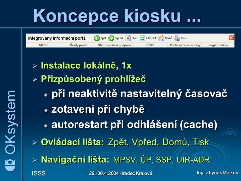 Ing.Zbyněk Melkes ISSS 29.-30.4.2004 Hradec Králové Koncepce kiosku...