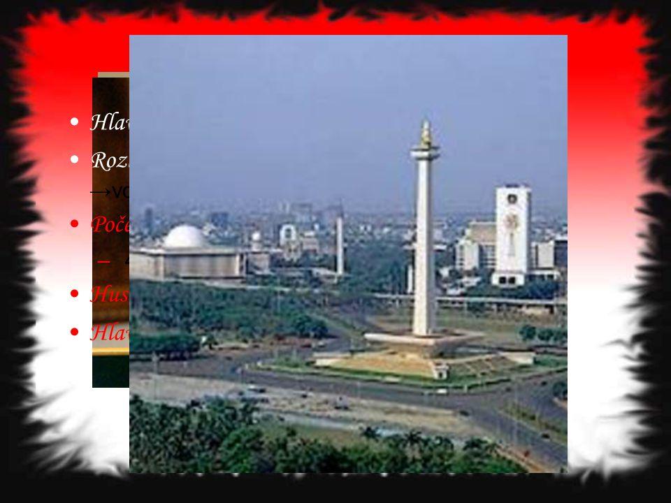 Základní informace Hlavní město : Jakarta Rozloha: 1,910 mil. km 2 →pevnina 7,966 mil km 2 →vodní plocha Počet obyvatel: 245 452 739 – 4. nejlidnatějš