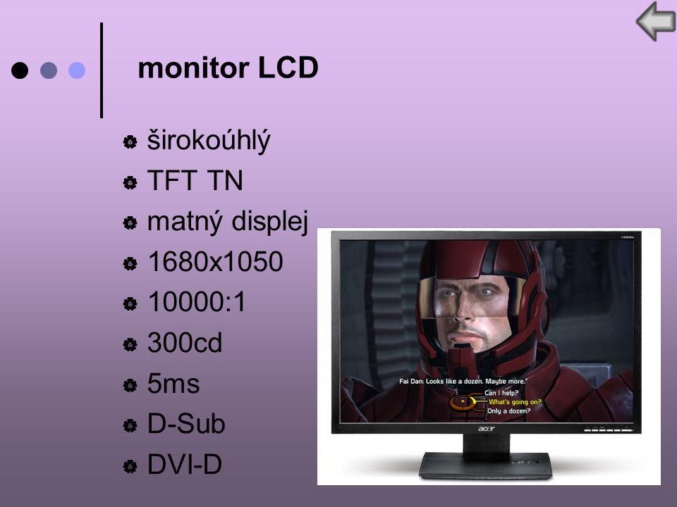  širokoúhlý  TFT TN  matný displej  1680x1050  10000:1  300cd  5ms  D-Sub  DVI-D monitor LCD