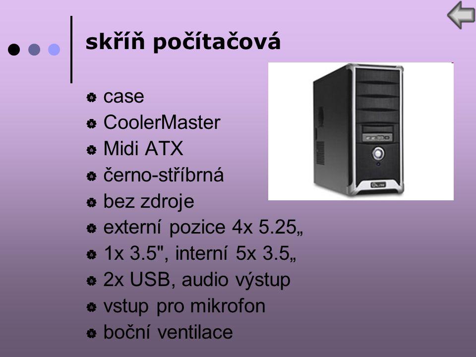 """skříň počítačová  case  CoolerMaster  Midi ATX  černo-stříbrná  bez zdroje  externí pozice 4x 5.25""""  1x 3.5 , interní 5x 3.5""""  2x USB, audio výstup  vstup pro mikrofon  boční ventilace"""