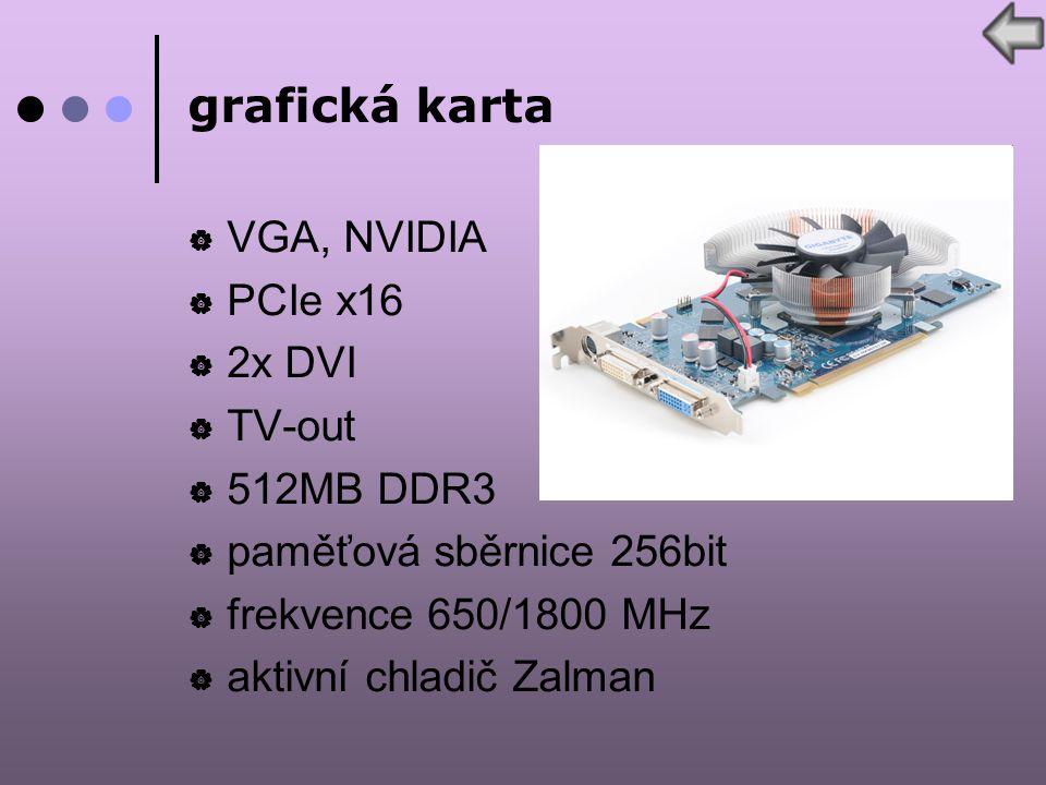 grafická karta  VGA, NVIDIA  PCIe x16  2x DVI  TV-out  512MB DDR3  paměťová sběrnice 256bit  frekvence 650/1800 MHz  aktivní chladič Zalman