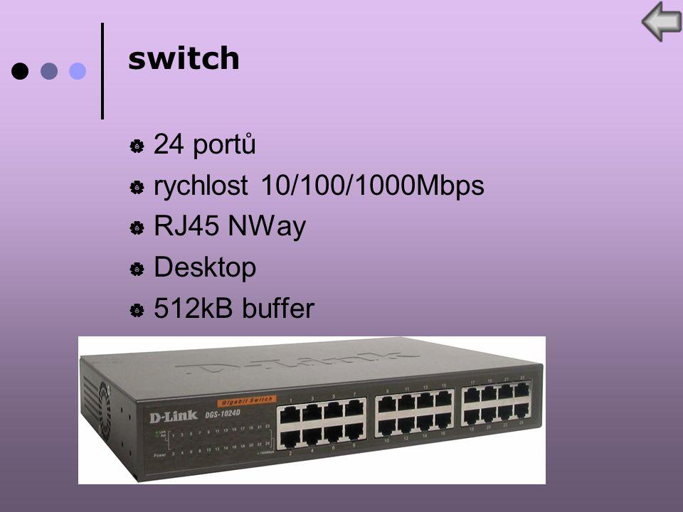 switch  24 portů  rychlost 10/100/1000Mbps  RJ45 NWay  Desktop  512kB buffer