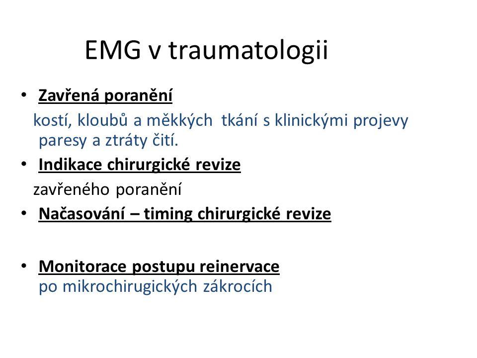 EMG v traumatologii Zavřená poranění kostí, kloubů a měkkých tkání s klinickými projevy paresy a ztráty čití. Indikace chirurgické revize zavřeného po