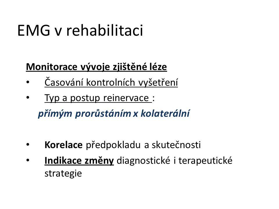 EMG v rehabilitaci Monitorace vývoje zjištěné léze Časování kontrolních vyšetření Typ a postup reinervace : přímým prorůstáním x kolaterální Korelace