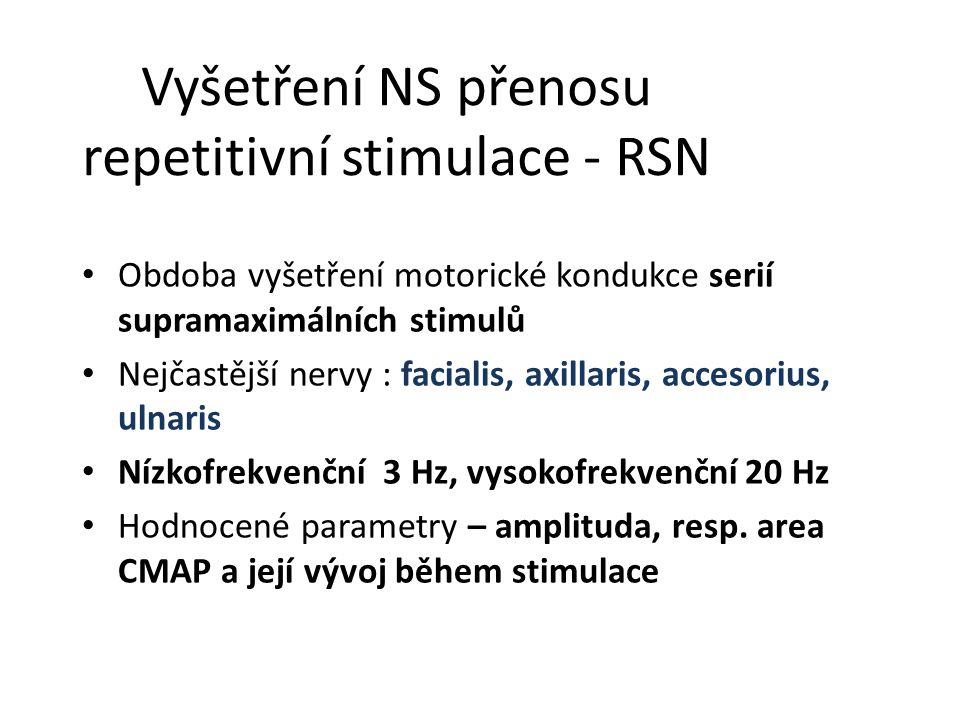Vyšetření NS přenosu repetitivní stimulace - RSN Obdoba vyšetření motorické kondukce serií supramaximálních stimulů Nejčastější nervy : facialis, axil