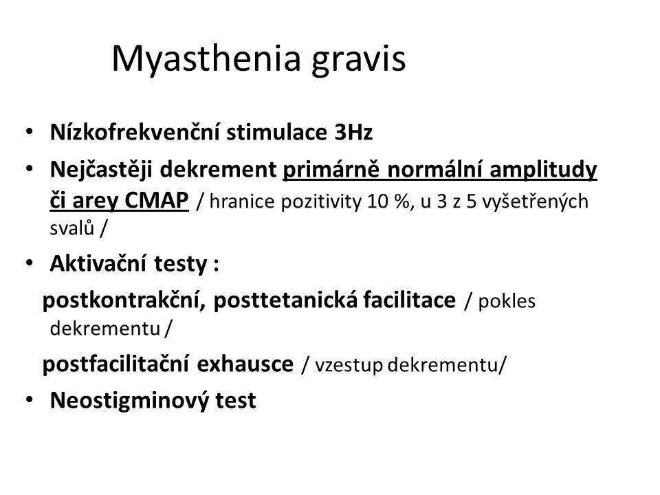Myasthenia gravis Nízkofrekvenční stimulace 3Hz Nejčastěji dekrement primárně normální amplitudy či arey CMAP / hranice pozitivity 10 %, u 3 z 5 vyšet