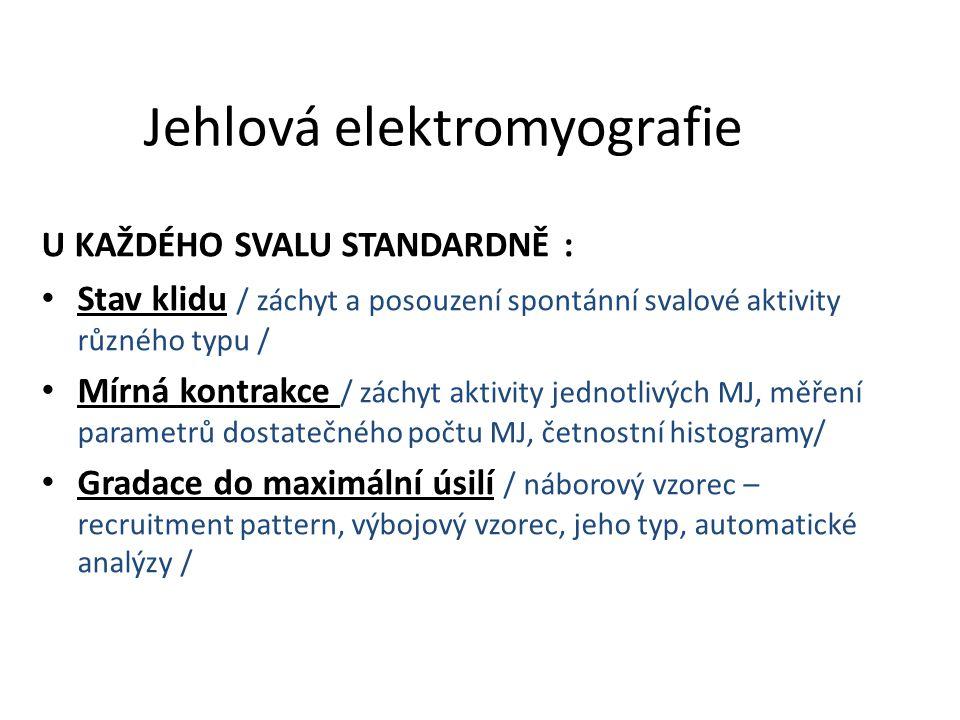 Jehlová elektromyografie U KAŽDÉHO SVALU STANDARDNĚ : Stav klidu / záchyt a posouzení spontánní svalové aktivity různého typu / Mírná kontrakce / zách