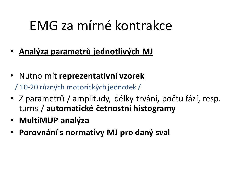 EMG za mírné kontrakce Analýza parametrů jednotlivých MJ Nutno mít reprezentativní vzorek / 10-20 různých motorických jednotek / Z parametrů / amplitu