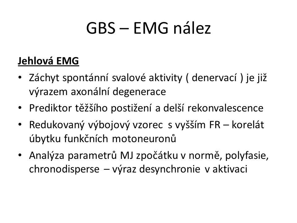 GBS – EMG nález Jehlová EMG Záchyt spontánní svalové aktivity ( denervací ) je již výrazem axonální degenerace Prediktor těžšího postižení a delší rek