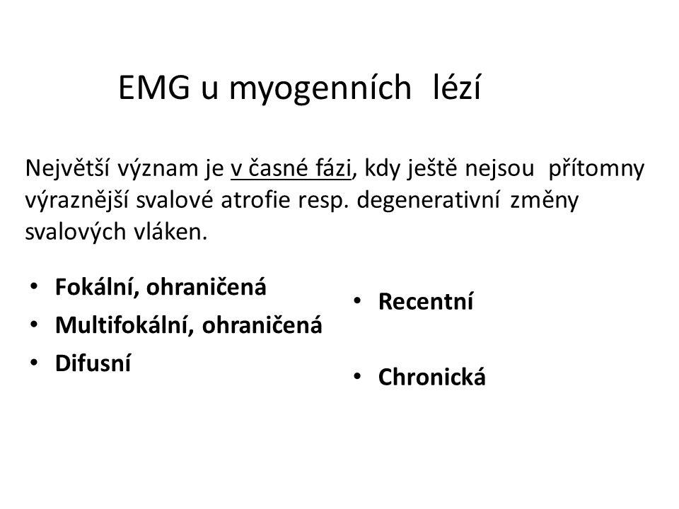 EMG u myogenních lézí Fokální, ohraničená Multifokální, ohraničená Difusní Recentní Chronická Největší význam je v časné fázi, kdy ještě nejsou přítom