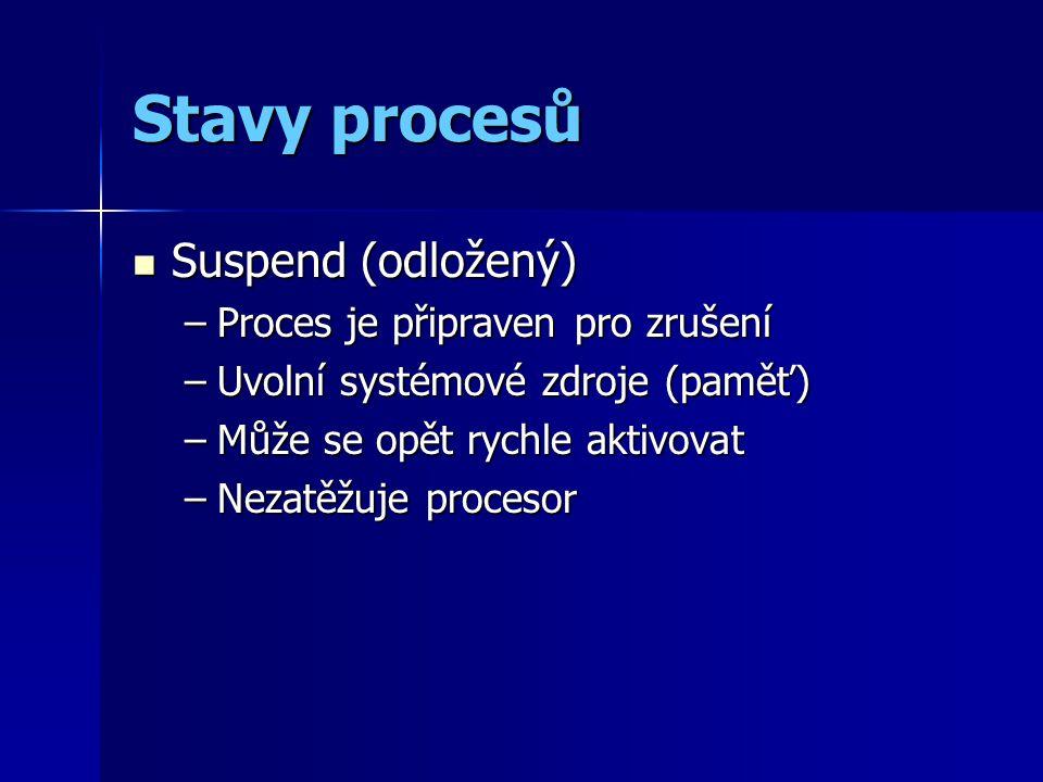 Stavy procesů Suspend (odložený) Suspend (odložený) –Proces je připraven pro zrušení –Uvolní systémové zdroje (paměť) –Může se opět rychle aktivovat –Nezatěžuje procesor