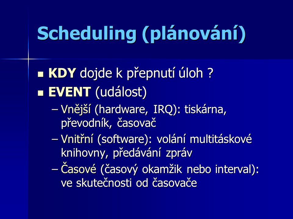 Scheduling (plánování) KDY dojde k přepnutí úloh .