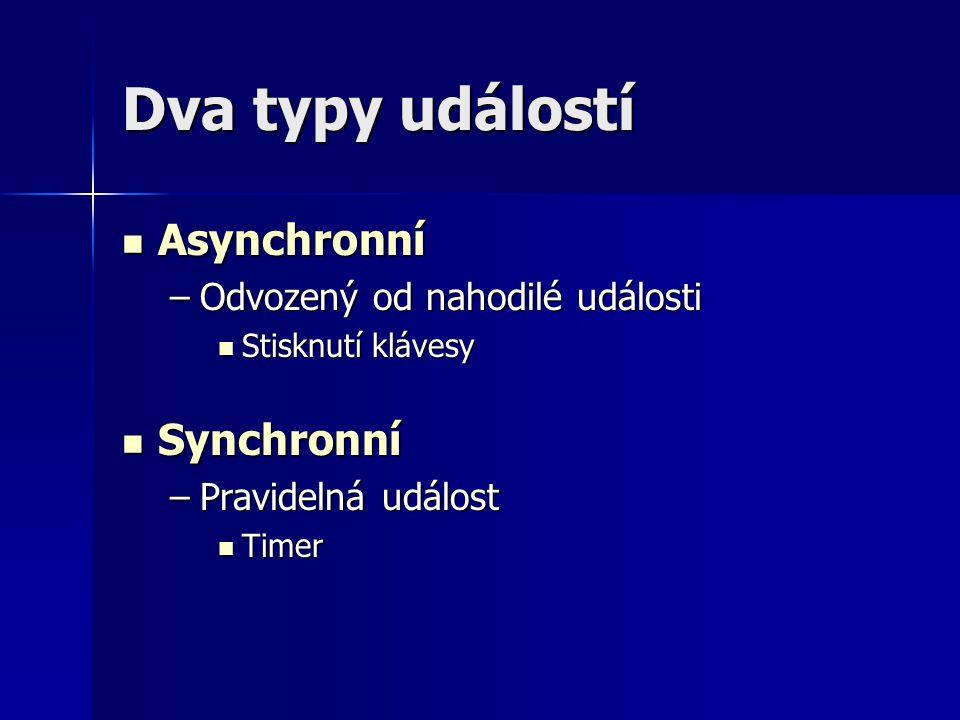 Dva typy událostí Asynchronní Asynchronní –Odvozený od nahodilé události Stisknutí klávesy Stisknutí klávesy Synchronní Synchronní –Pravidelná událost Timer Timer
