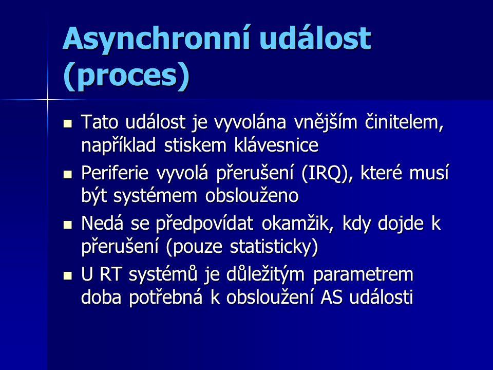 Asynchronní událost (proces) Tato událost je vyvolána vnějším činitelem, například stiskem klávesnice Tato událost je vyvolána vnějším činitelem, například stiskem klávesnice Periferie vyvolá přerušení (IRQ), které musí být systémem obslouženo Periferie vyvolá přerušení (IRQ), které musí být systémem obslouženo Nedá se předpovídat okamžik, kdy dojde k přerušení (pouze statisticky) Nedá se předpovídat okamžik, kdy dojde k přerušení (pouze statisticky) U RT systémů je důležitým parametrem doba potřebná k obsloužení AS události U RT systémů je důležitým parametrem doba potřebná k obsloužení AS události