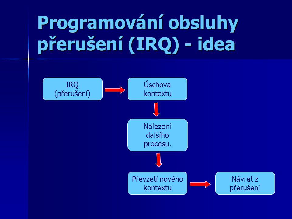 Programování obsluhy přerušení (IRQ) - idea IRQ (přerušení) Úschova kontextu Nalezení dalšího procesu.