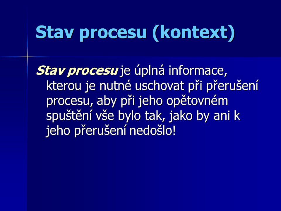 Stav procesu (kontext) Stav procesu je úplná informace, kterou je nutné uschovat při přerušení procesu, aby při jeho opětovném spuštění vše bylo tak, jako by ani k jeho přerušení nedošlo!