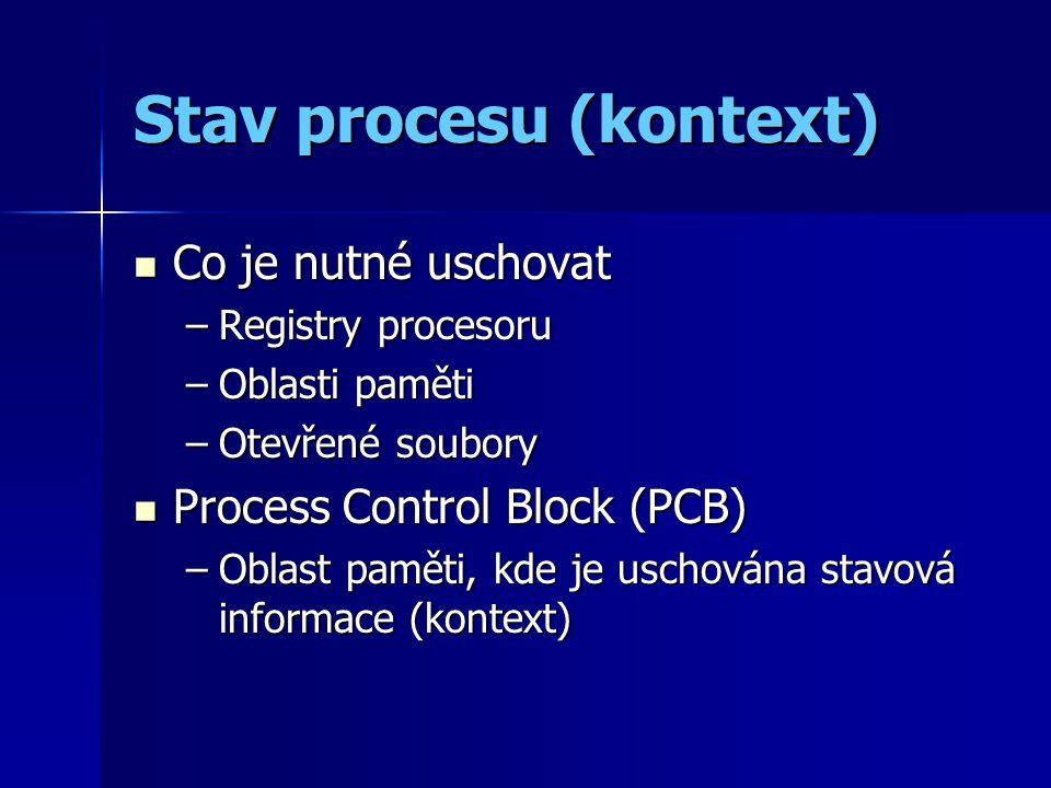Stav procesu (kontext) Co je nutné uschovat Co je nutné uschovat –Registry procesoru –Oblasti paměti –Otevřené soubory Process Control Block (PCB) Process Control Block (PCB) –Oblast paměti, kde je uschována stavová informace (kontext)