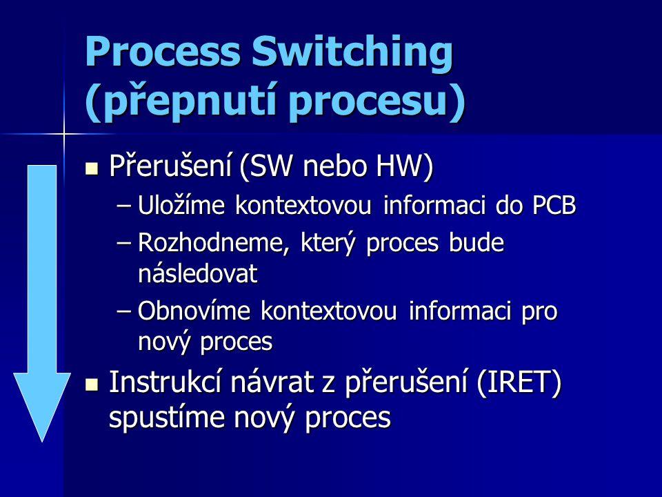 Process Switching (přepnutí procesu) Přerušení (SW nebo HW) Přerušení (SW nebo HW) –Uložíme kontextovou informaci do PCB –Rozhodneme, který proces bude následovat –Obnovíme kontextovou informaci pro nový proces Instrukcí návrat z přerušení (IRET) spustíme nový proces Instrukcí návrat z přerušení (IRET) spustíme nový proces