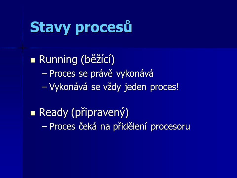 Stavy procesů Running (běžící) Running (běžící) –Proces se právě vykonává –Vykonává se vždy jeden proces.