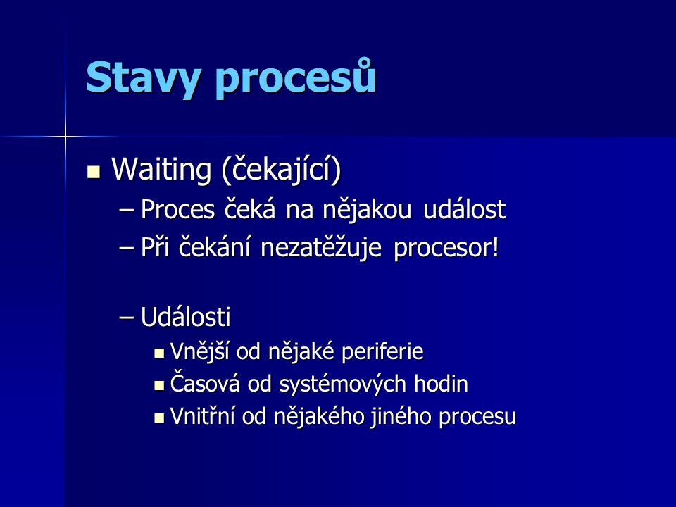 Stavy procesů Waiting (čekající) Waiting (čekající) –Proces čeká na nějakou událost –Při čekání nezatěžuje procesor.