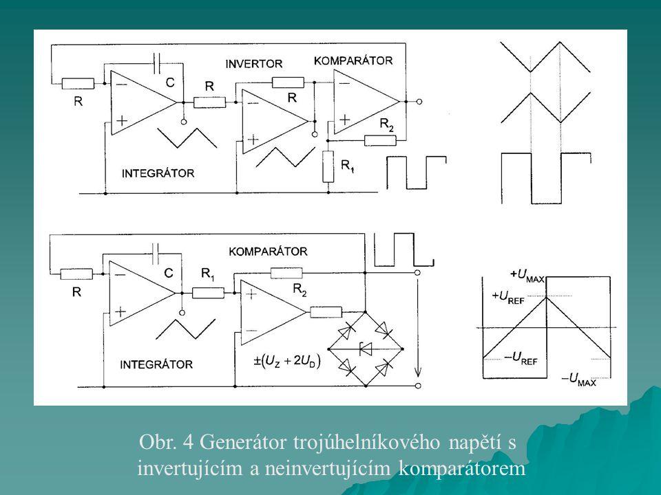Obr. 4 Generátor trojúhelníkového napětí s invertujícím a neinvertujícím komparátorem