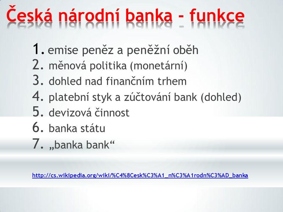 Česká národní banka - funkce 1. emise peněz a peněžní oběh 2. měnová politika (monetární) 3. dohled nad finančním trhem 4. platební styk a zúčtování b