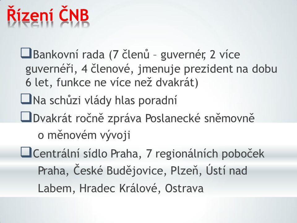 Řízení ČNB  Bankovní rada (7 členů – guvernér, 2 více guvernéři, 4 členové, jmenuje prezident na dobu 6 let, funkce ne více než dvakrát)  Na schůzi