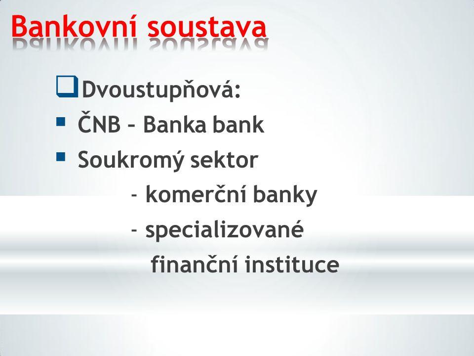 Bankovní soustava  Dvoustupňová:  ČNB – Banka bank  Soukromý sektor -komerční banky -specializované finanční instituce