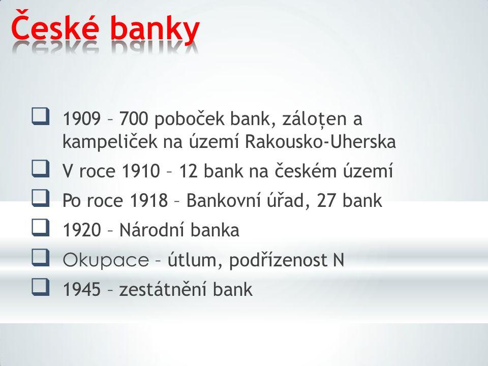 Českébanky  1909 – 700 poboček bank, záloţen a kampeliček na území Rakousko-Uherska  V roce 1910 – 12 bank na českém území  Po roce 1918 – Bankovní