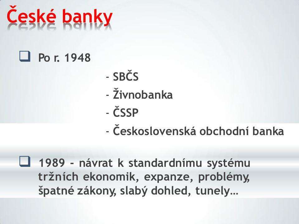 České banky  Po r. 1948 -SBČS -Živnobanka -ČSSP -Československá obchodní banka  1989 - návrat k standardnímu systému tržních ekonomik, expanze, prob