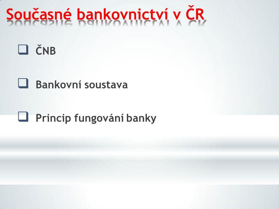 Současné bankovnictví v ČR  ČNB  Bankovní soustava  Princip fungování banky
