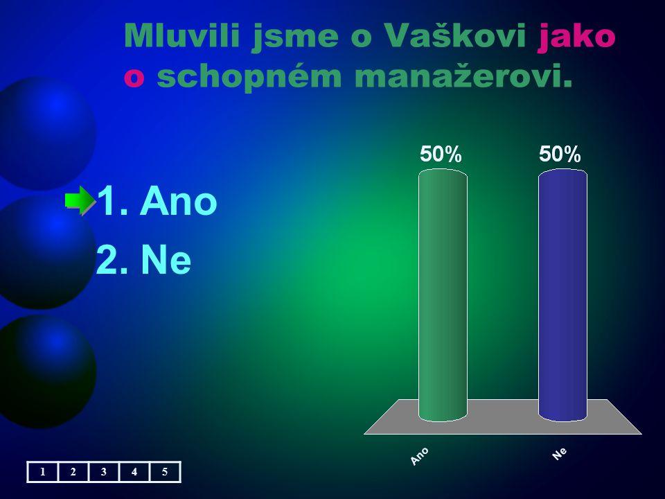 Mluvili jsme o Vaškovi jako o schopném manažerovi. 1.Ano 2.Ne 12345
