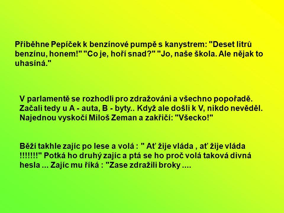 Přiběhne Pepíček k benzínové pumpě s kanystrem: