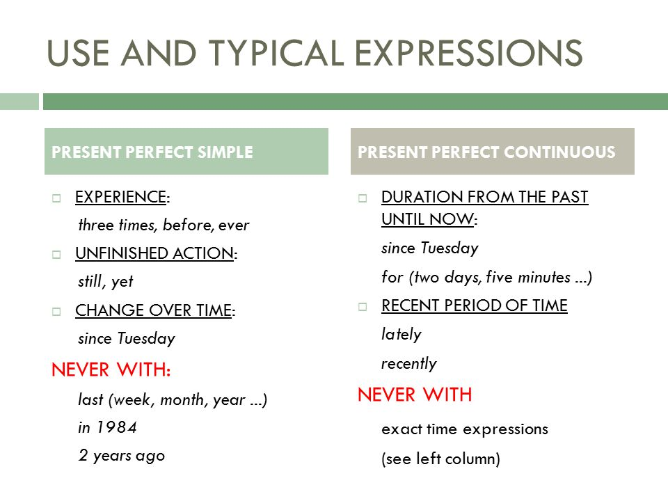 USE AND TYPICAL EXPRESSIONS  EXPERIENCE: three times, before, ever  UNFINISHED ACTION: still, yet  CHANGE OVER TIME: since Tuesday NEVER WITH: last (week, month, year...) in years ago  DURATION FROM THE PAST UNTIL NOW: since Tuesday for (two days, five minutes...)  RECENT PERIOD OF TIME lately recently NEVER WITH exact time expressions (see left column) PRESENT PERFECT SIMPLEPRESENT PERFECT CONTINUOUS