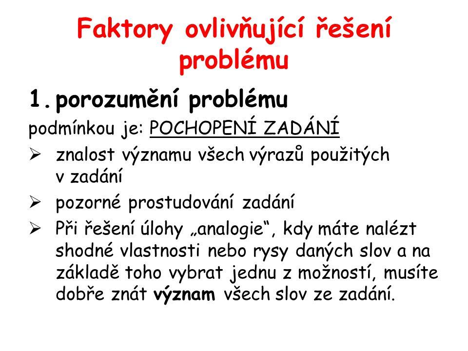 Faktory ovlivňující řešení problému 1.porozumění problému podmínkou je: POCHOPENÍ ZADÁNÍ  znalost významu všech výrazů použitých v zadání  pozorné p