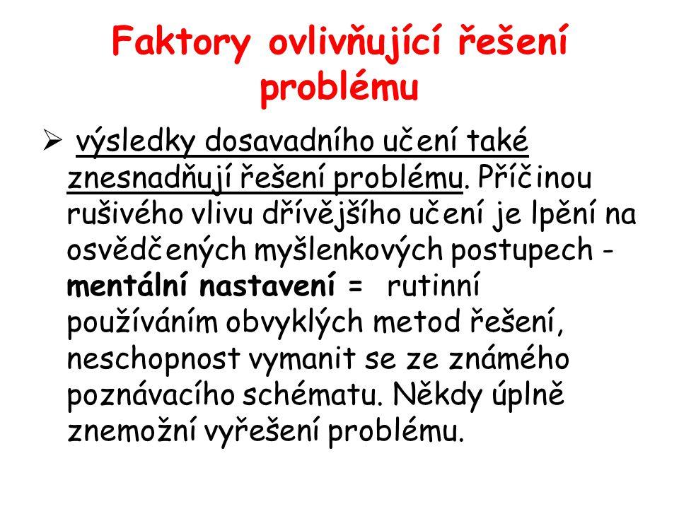 Faktory ovlivňující řešení problému  výsledky dosavadního učení také znesnadňují řešení problému. Příčinou rušivého vlivu dřívějšího učení je lpění n