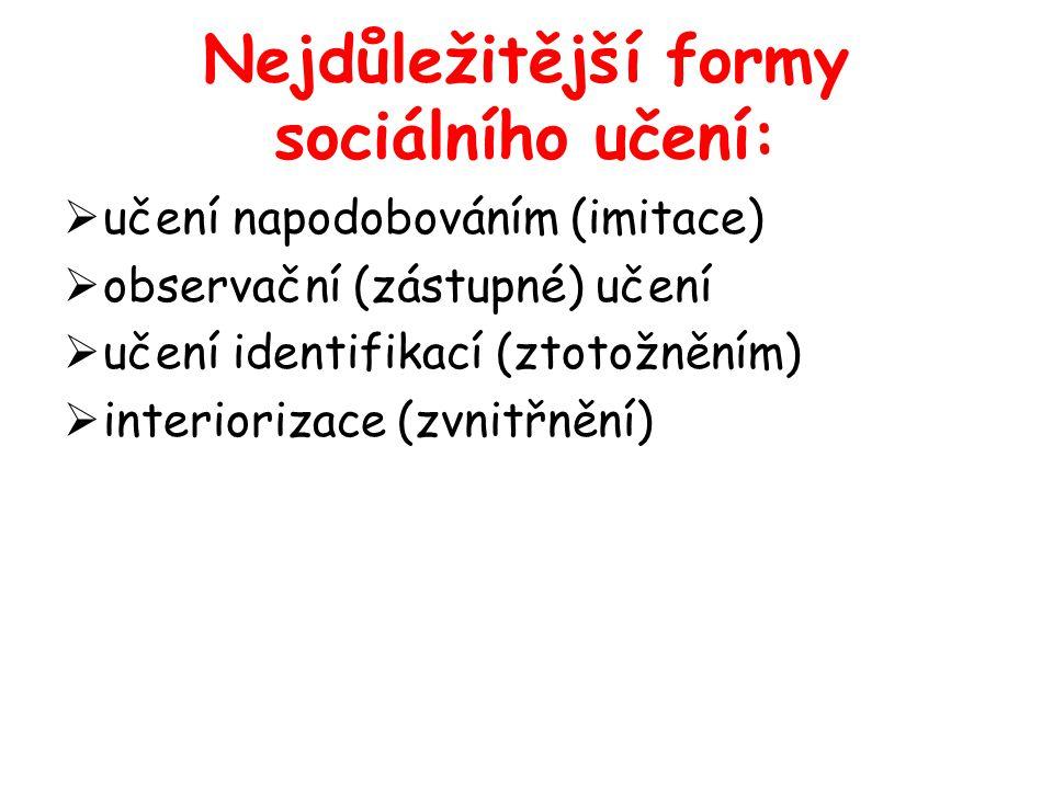 Nejdůležitější formy sociálního učení:  učení napodobováním (imitace)  observační (zástupné) učení  učení identifikací (ztotožněním)  interiorizac
