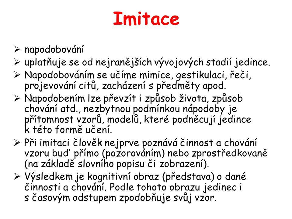 Imitace  napodobování  uplatňuje se od nejranějších vývojových stadií jedince.  Napodobováním se učíme mimice, gestikulaci, řeči, projevování citů,