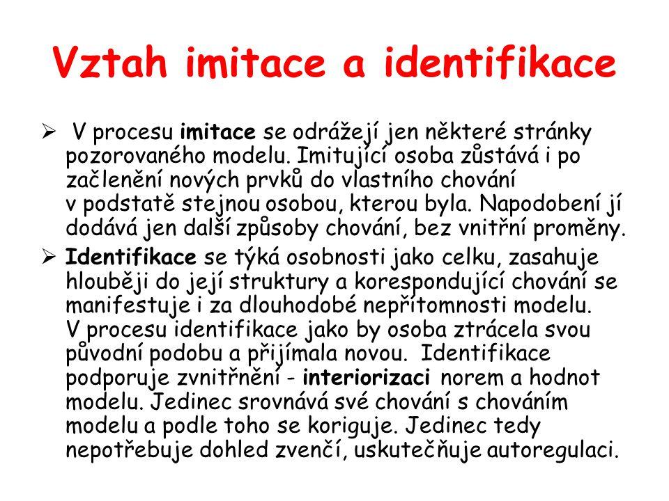 Vztah imitace a identifikace  V procesu imitace se odrážejí jen některé stránky pozorovaného modelu. Imitující osoba zůstává i po začlenění nových pr