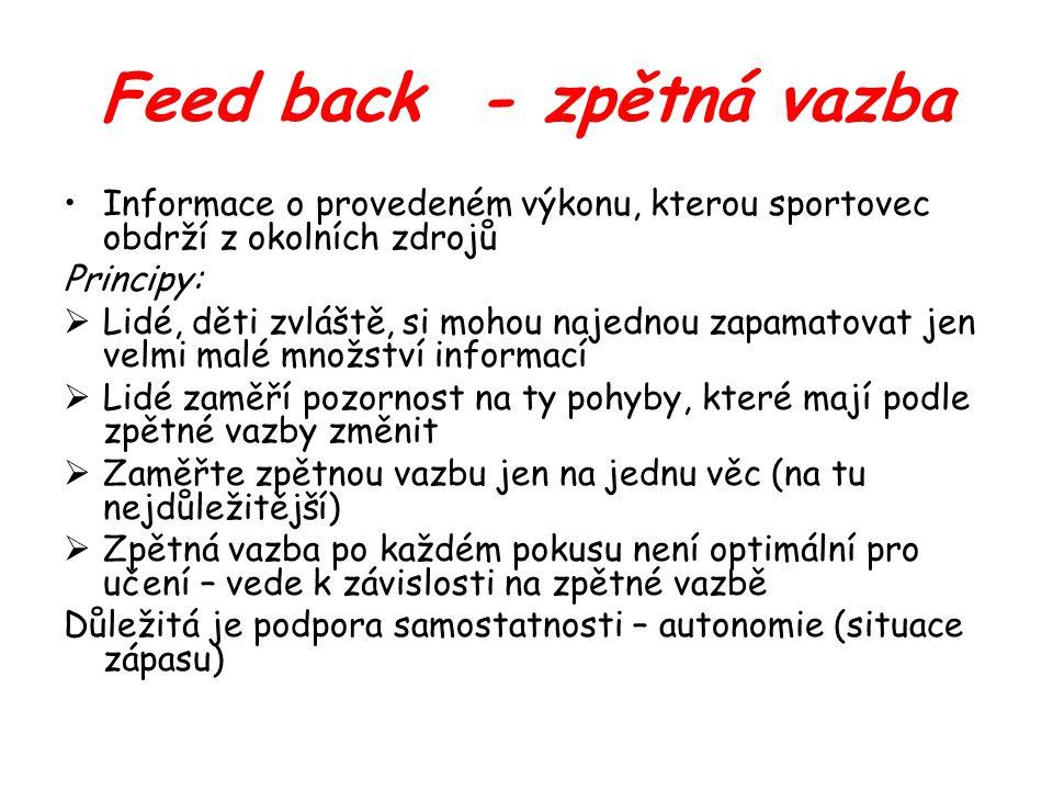 Feed back - zpětná vazba Informace o provedeném výkonu, kterou sportovec obdrží z okolních zdrojů Principy:  Lidé, děti zvláště, si mohou najednou za