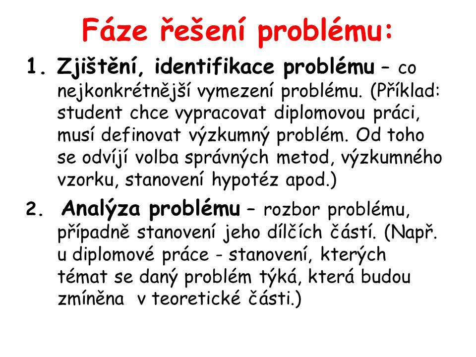 Fáze řešení problému: 1.Zjištění, identifikace problému – co nejkonkrétnější vymezení problému. (Příklad: student chce vypracovat diplomovou práci, mu