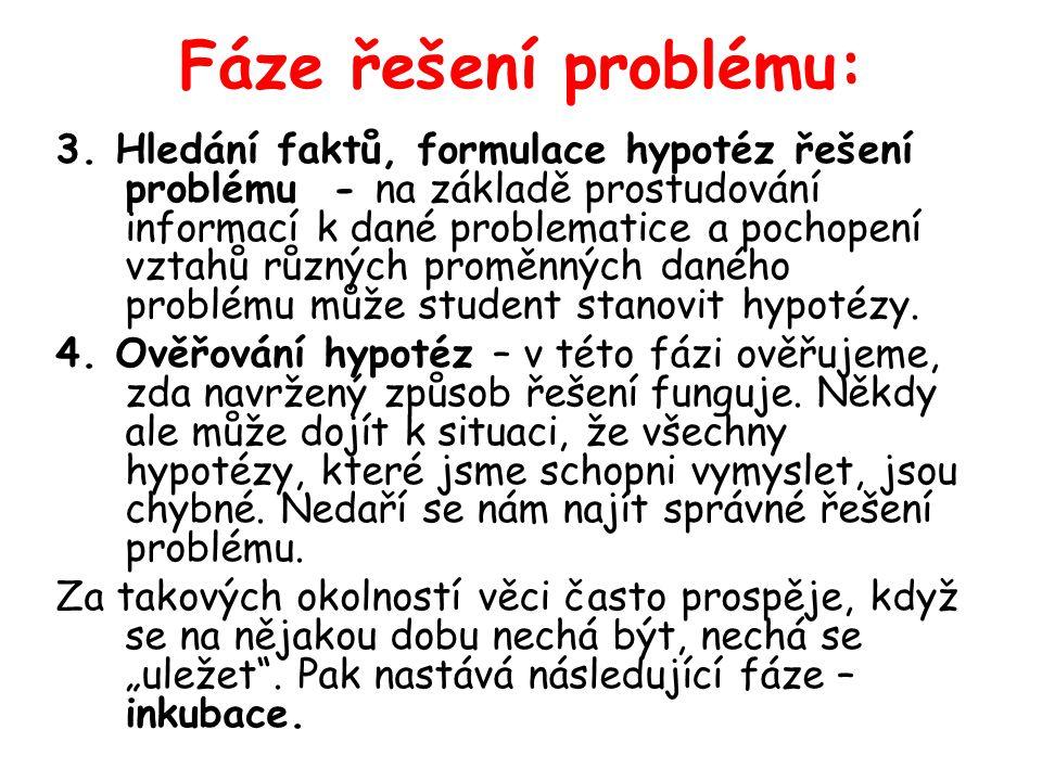 Fáze řešení problému: 3. Hledání faktů, formulace hypotéz řešení problému - na základě prostudování informací k dané problematice a pochopení vztahů r