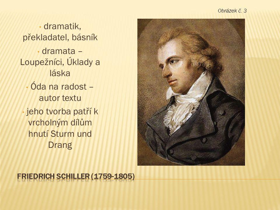 dramatik, překladatel, básník dramata – Loupežníci, Úklady a láska Óda na radost – autor textu jeho tvorba patří k vrcholným dílům hnutí Sturm und Dra