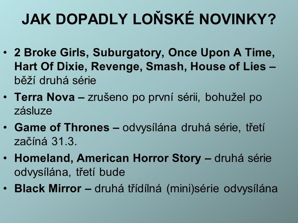 JAK DOPADLY LOŇSKÉ NOVINKY? 2 Broke Girls, Suburgatory, Once Upon A Time, Hart Of Dixie, Revenge, Smash, House of Lies – běží druhá série Terra Nova –